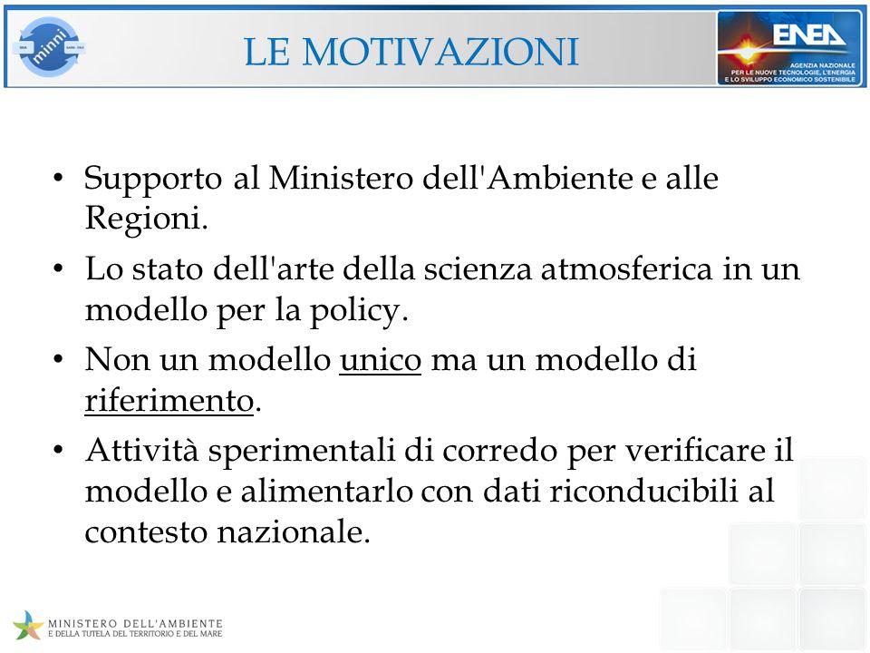 LE MOTIVAZIONI Supporto al Ministero dell'Ambiente e alle Regioni. Lo stato dell'arte della scienza atmosferica in un modello per la policy. Non un mo