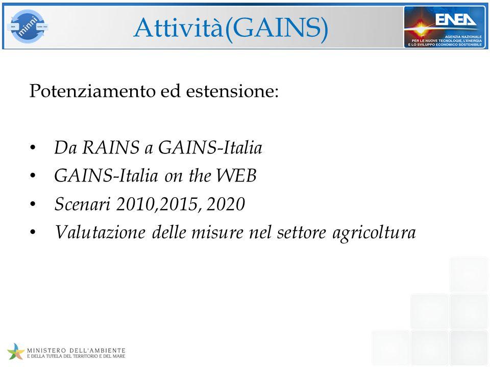 Attività(GAINS) Potenziamento ed estensione: Da RAINS a GAINS-Italia GAINS-Italia on the WEB Scenari 2010,2015, 2020 Valutazione delle misure nel sett