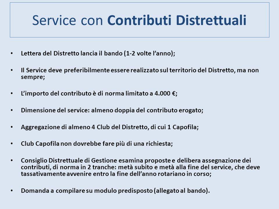 Service con Contributi Distrettuali Lettera del Distretto lancia il bando (1-2 volte lanno); Il Service deve preferibilmente essere realizzato sul ter