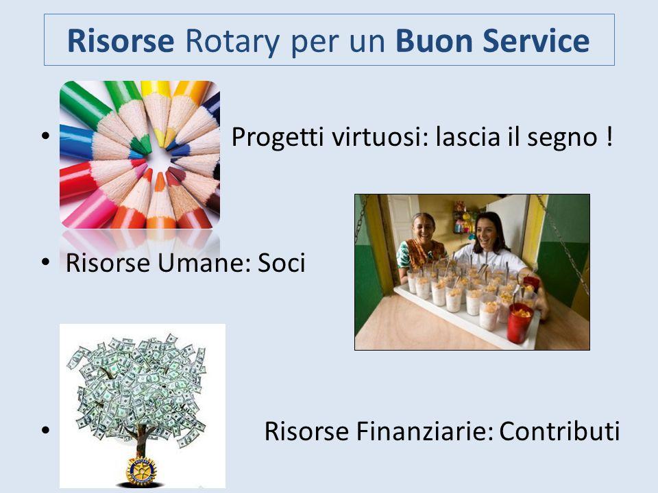 Risorse Rotary per un Buon Service Progetti virtuosi: lascia il segno ! Risorse Umane: Soci Risorse Finanziarie: Contributi
