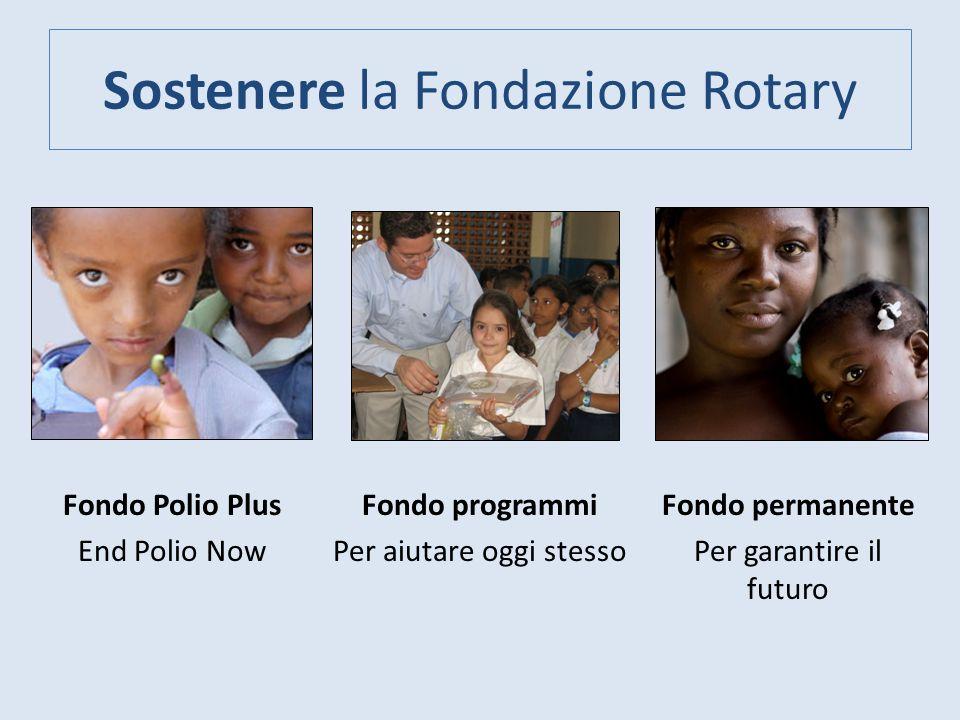 Sostenere la Fondazione Rotary Fondo programmi Per aiutare oggi stesso Fondo permanente Per garantire il futuro Fondo Polio Plus End Polio Now