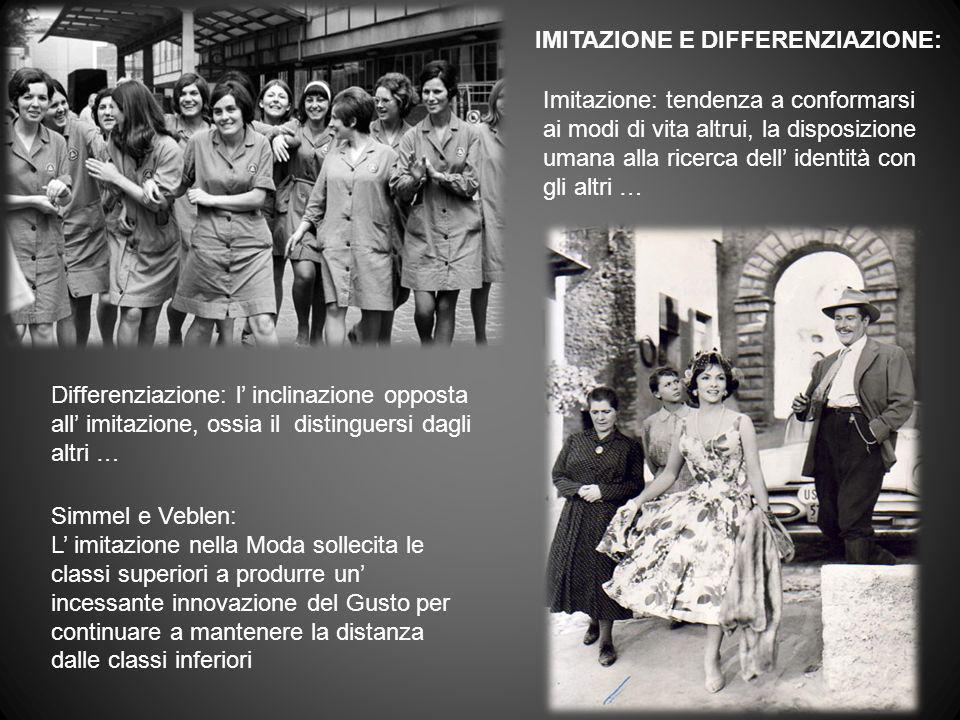 IMITAZIONE E DIFFERENZIAZIONE: Imitazione: tendenza a conformarsi ai modi di vita altrui, la disposizione umana alla ricerca dell identità con gli alt
