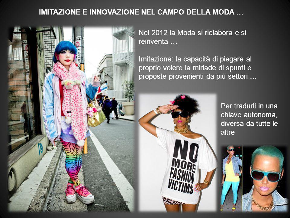 IMITAZIONE E INNOVAZIONE NEL CAMPO DELLA MODA … Nel 2012 la Moda si rielabora e si reinventa … Imitazione: la capacità di piegare al proprio volere la