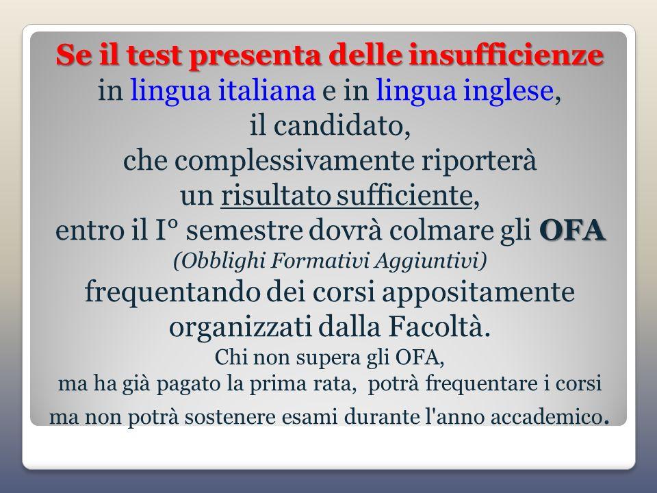 Se il test presenta delle insufficienze OFA Se il test presenta delle insufficienze in lingua italiana e in lingua inglese, il candidato, che compless