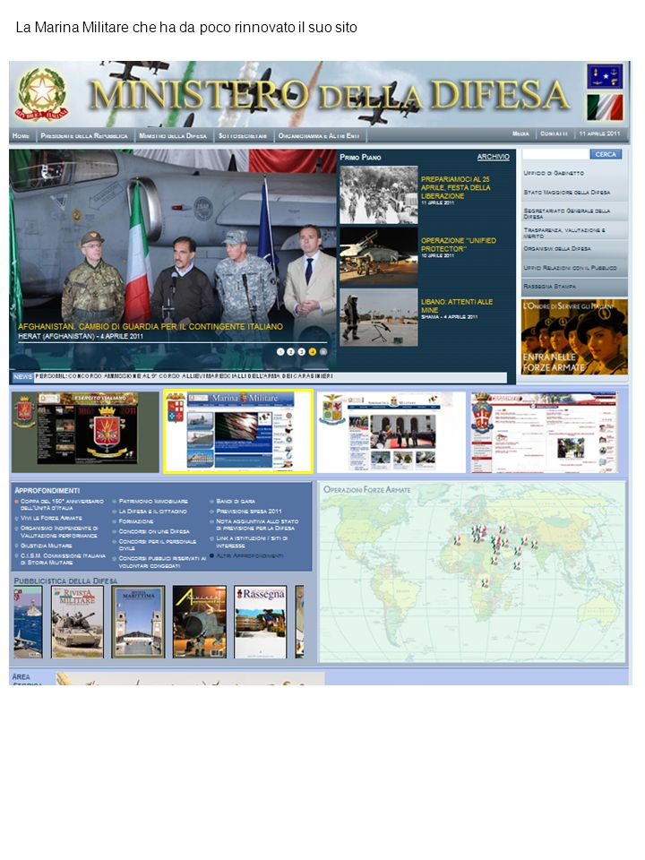 La Marina Militare che ha da poco rinnovato il suo sito