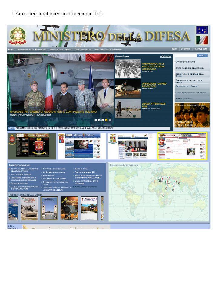 LArma dei Carabinieri di cui vediamo il sito