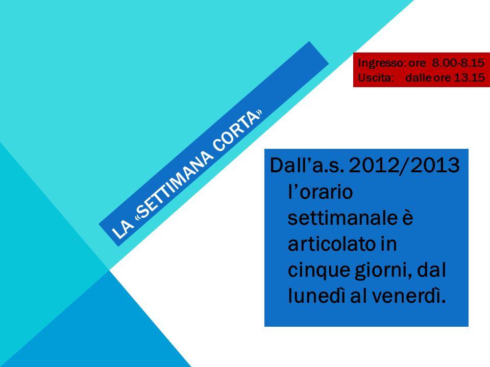 LA «SETTIMANA CORTA» Dalla.s. 2012/2013 lorario settimanale è articolato in cinque giorni, dal lunedì al venerdì. Ingresso: ore 8.00-8.15 Uscita: dall