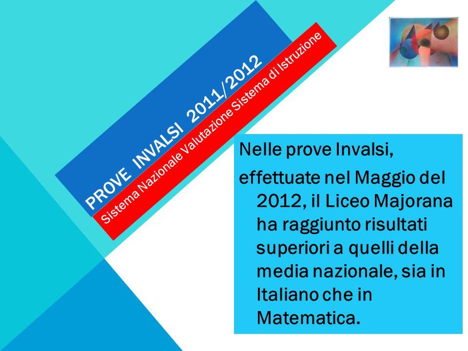 PROVE INVALSI 2011/2012 Nelle prove Invalsi, effettuate nel Maggio del 2012, il Liceo Majorana ha raggiunto risultati superiori a quelli della media n