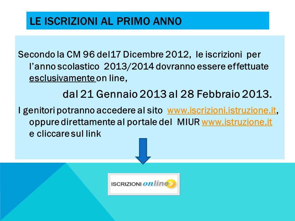 LE ISCRIZIONI AL PRIMO ANNO Secondo la CM 96 del17 Dicembre 2012, le iscrizioni per lanno scolastico 2013/2014 dovranno essere effettuate esclusivamen
