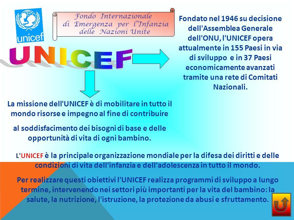 Fondato nel 1946 su decisione dell Assemblea Generale dell ONU, l UNICEF opera attualmente in 155 Paesi in via di sviluppo e in 37 Paesi economicamente avanzati tramite una rete di Comitati Nazionali.