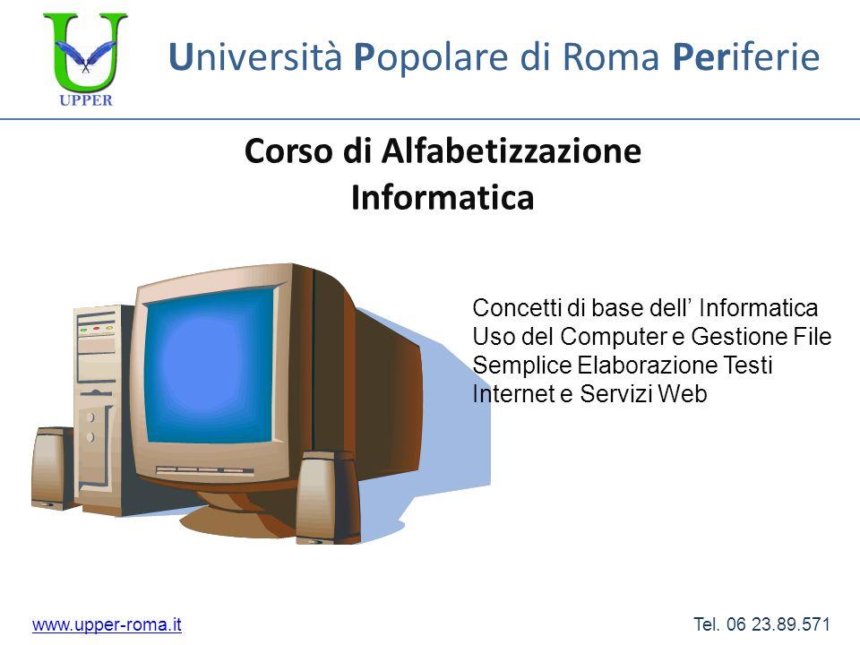 Università Popolare di Roma Periferie Corso di Alfabetizzazione Informatica www.upper-roma.itwww.upper-roma.it Tel. 06 23.89.571 Concetti di base dell