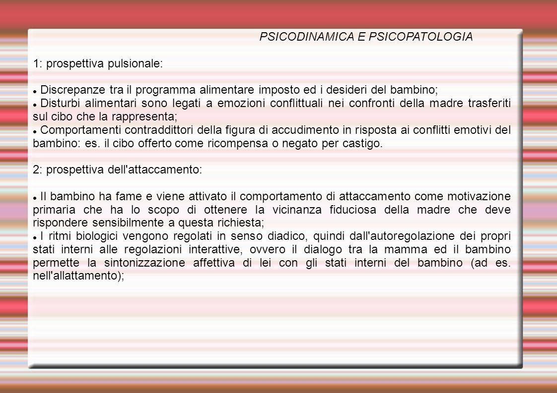 PSICODINAMICA E PSICOPATOLOGIA 1: prospettiva pulsionale: Discrepanze tra il programma alimentare imposto ed i desideri del bambino; Disturbi alimenta