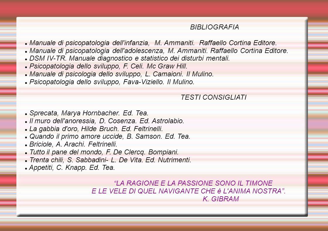 BIBLIOGRAFIA Manuale di psicopatologia dell'infanzia, M. Ammaniti. Raffaello Cortina Editore. Manuale di psicopatologia dell'adolescenza, M. Ammaniti.