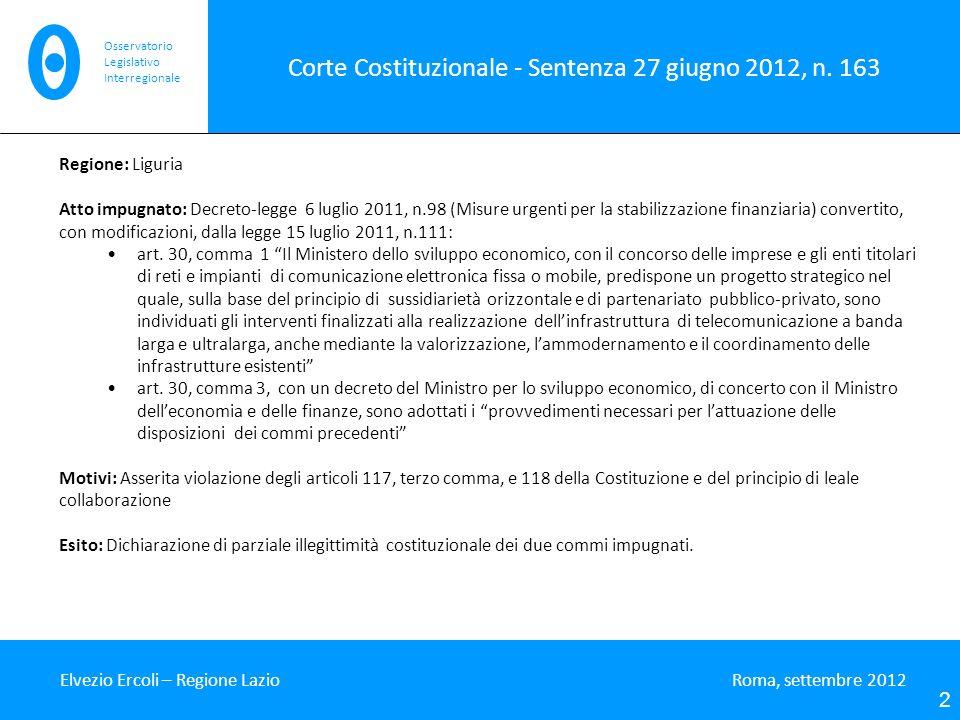 Corte Costituzionale - Sentenza 27 giugno 2012, n. 163 Elvezio Ercoli – Regione Lazio Roma, settembre 2012 2 Osservatorio Legislativo Interregionale R