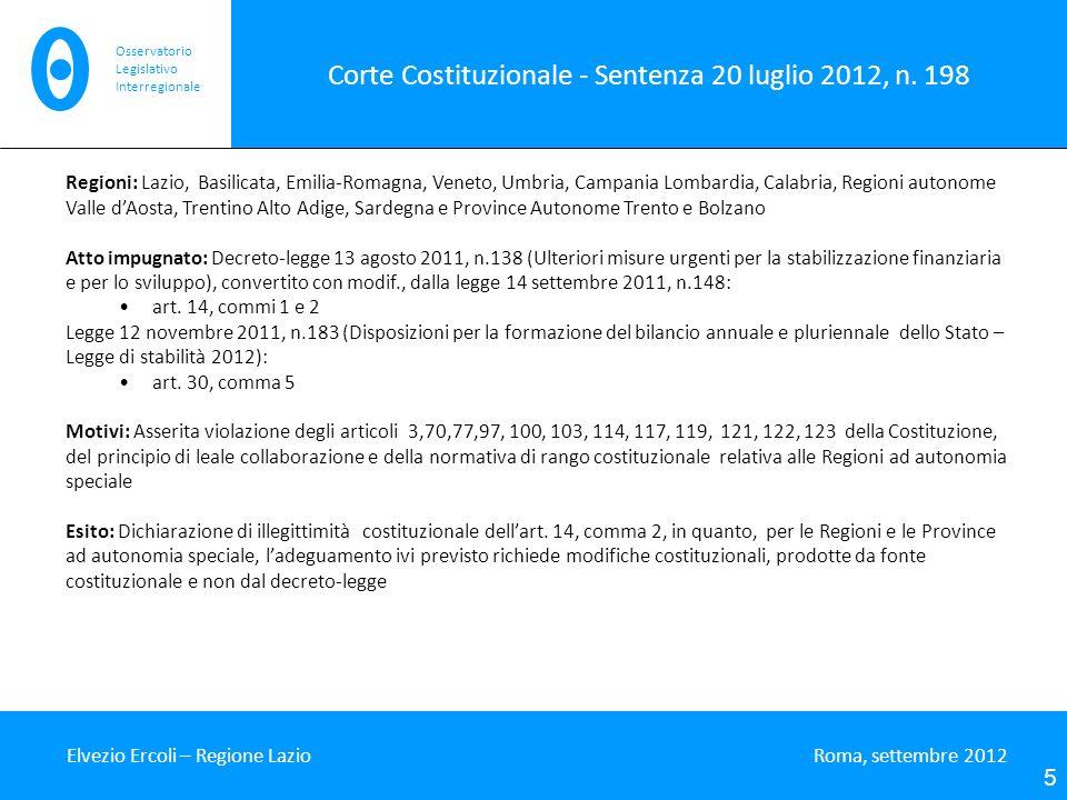 Corte Costituzionale - Sentenza 20 luglio 2012, n. 198 Elvezio Ercoli – Regione Lazio Roma, settembre 2012 5 Osservatorio Legislativo Interregionale R