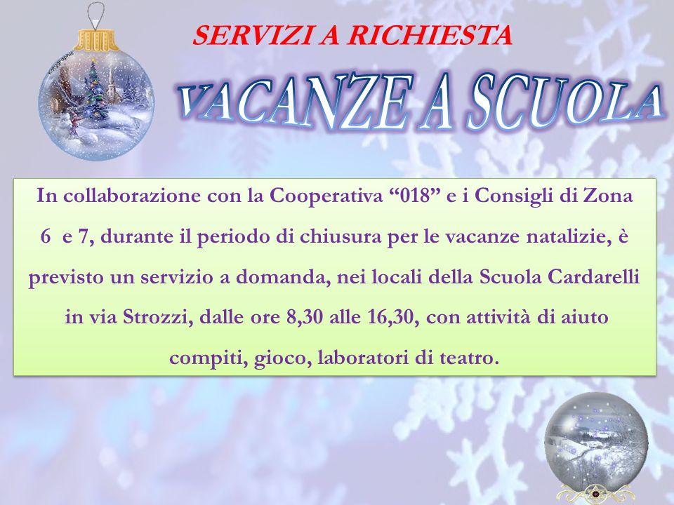 In collaborazione con la Cooperativa 018 e i Consigli di Zona 6 e 7, durante il periodo di chiusura per le vacanze natalizie, è previsto un servizio a