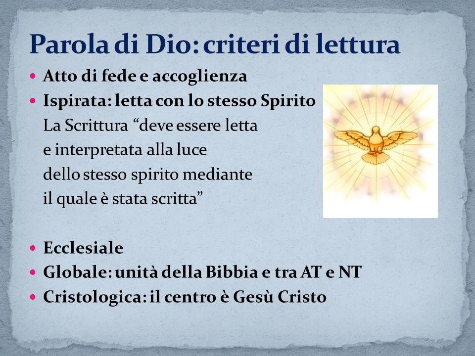 Atto di fede e accoglienza Ispirata: letta con lo stesso Spirito La Scrittura deve essere letta e interpretata alla luce dello stesso spirito mediante
