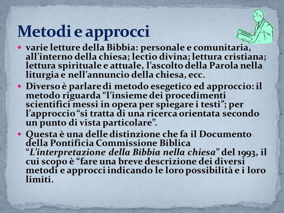 varie letture della Bibbia: personale e comunitaria, allinterno della chiesa; lectio divina; lettura cristiana; lettura spirituale e attuale, lascolto