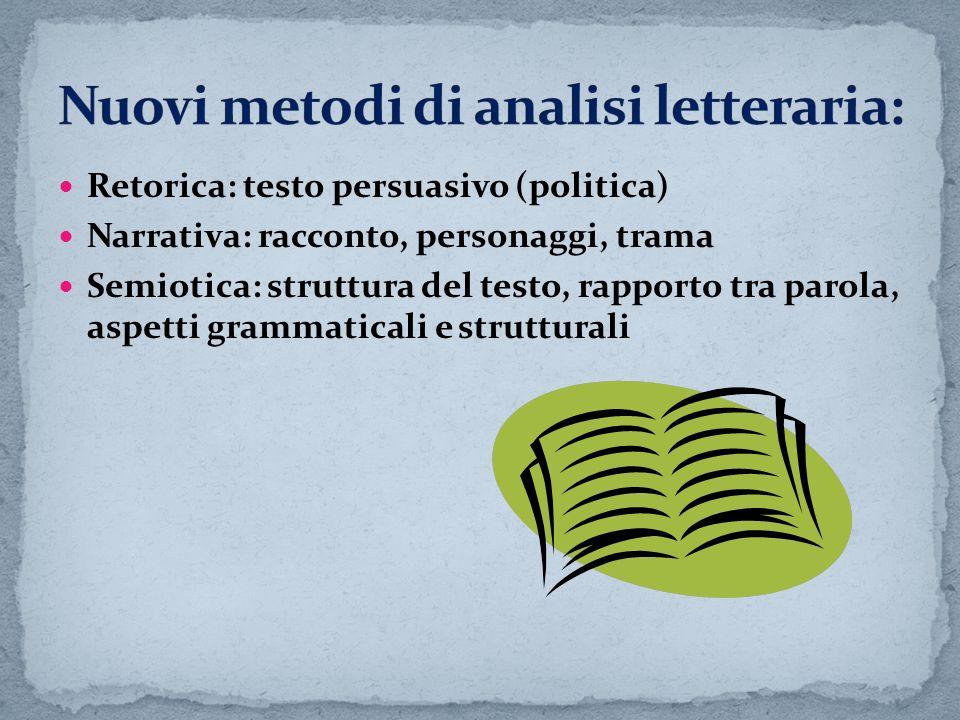 Retorica: testo persuasivo (politica) Narrativa: racconto, personaggi, trama Semiotica: struttura del testo, rapporto tra parola, aspetti grammaticali