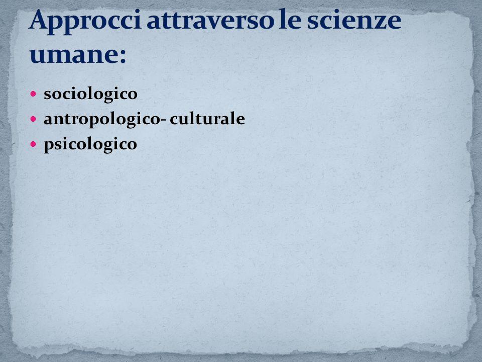 sociologico antropologico- culturale psicologico