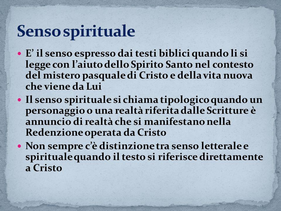 E il senso espresso dai testi biblici quando li si legge con laiuto dello Spirito Santo nel contesto del mistero pasquale di Cristo e della vita nuova
