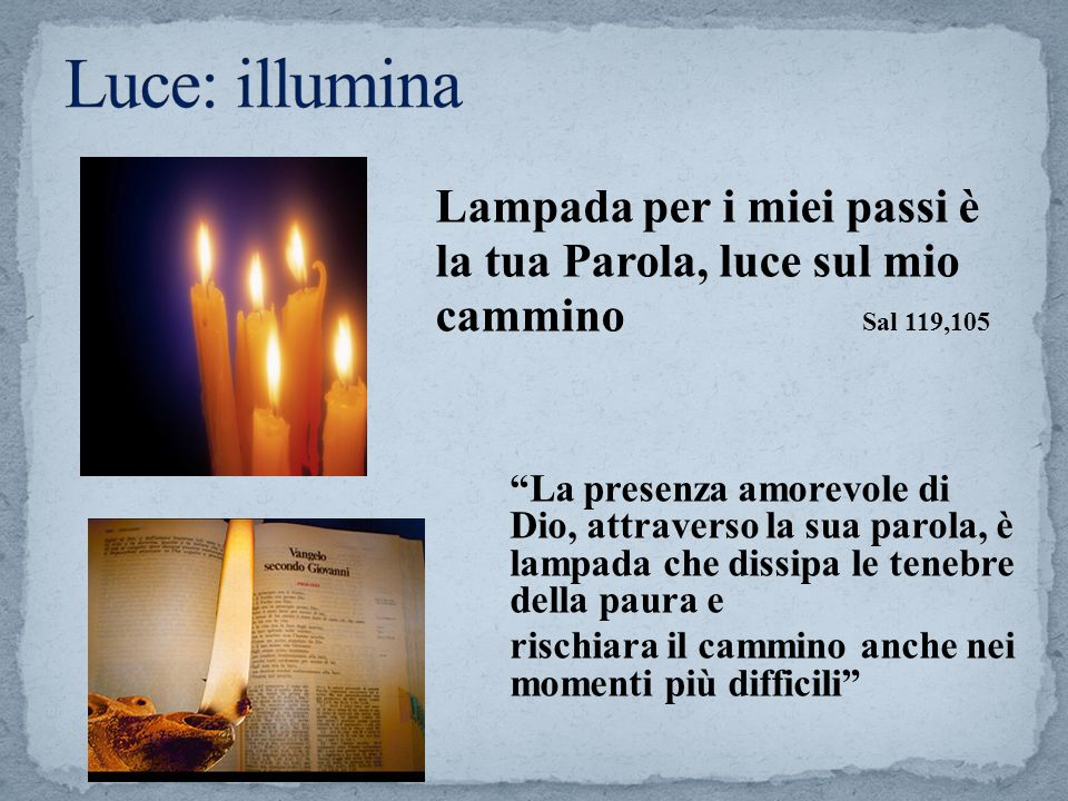 Lampada per i miei passi è la tua Parola, luce sul mio cammino Sal 119,105 La presenza amorevole di Dio, attraverso la sua parola, è lampada che dissi