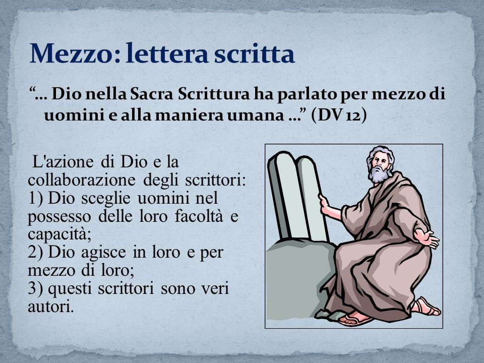 … Dio nella Sacra Scrittura ha parlato per mezzo di uomini e alla maniera umana … (DV 12) L'azione di Dio e la collaborazione degli scrittori: 1) Dio