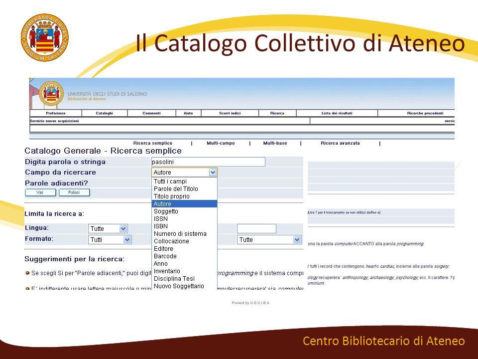 Le richieste online Centro Bibliotecario di Ateneo