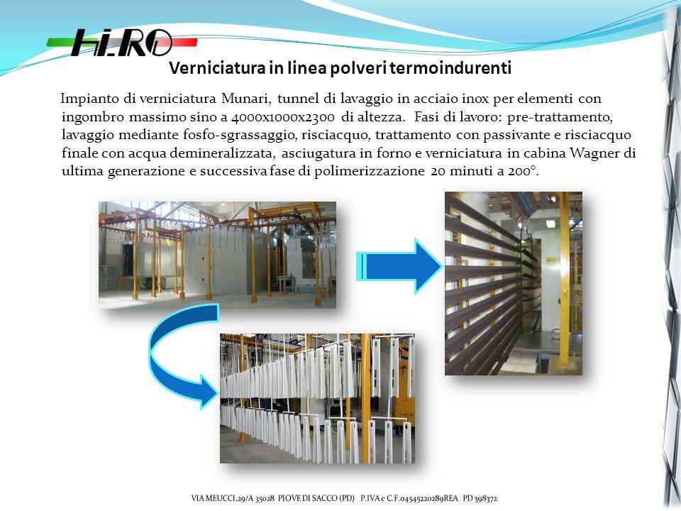 Verniciatura in linea polveri termoindurenti Impianto di verniciatura Munari, tunnel di lavaggio in acciaio inox per elementi con ingombro massimo sino a 4000x1000x2300 di altezza.