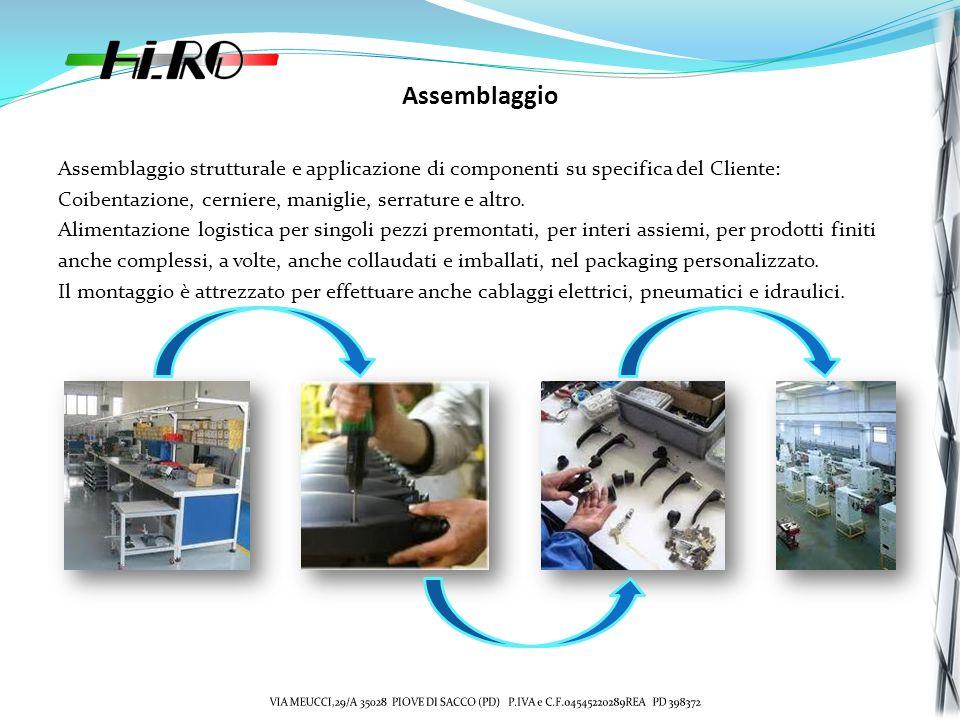 Assemblaggio Assemblaggio strutturale e applicazione di componenti su specifica del Cliente: Coibentazione, cerniere, maniglie, serrature e altro.