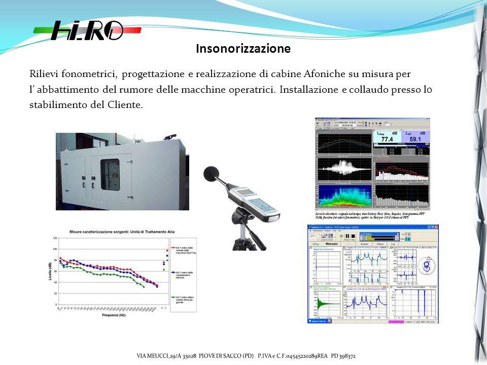 Insonorizzazione Rilievi fonometrici, progettazione e realizzazione di cabine Afoniche su misura per l abbattimento del rumore delle macchine operatrici.