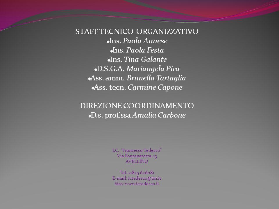 STAFF TECNICO-ORGANIZZATIVO Ins.Paola Annese Ins.