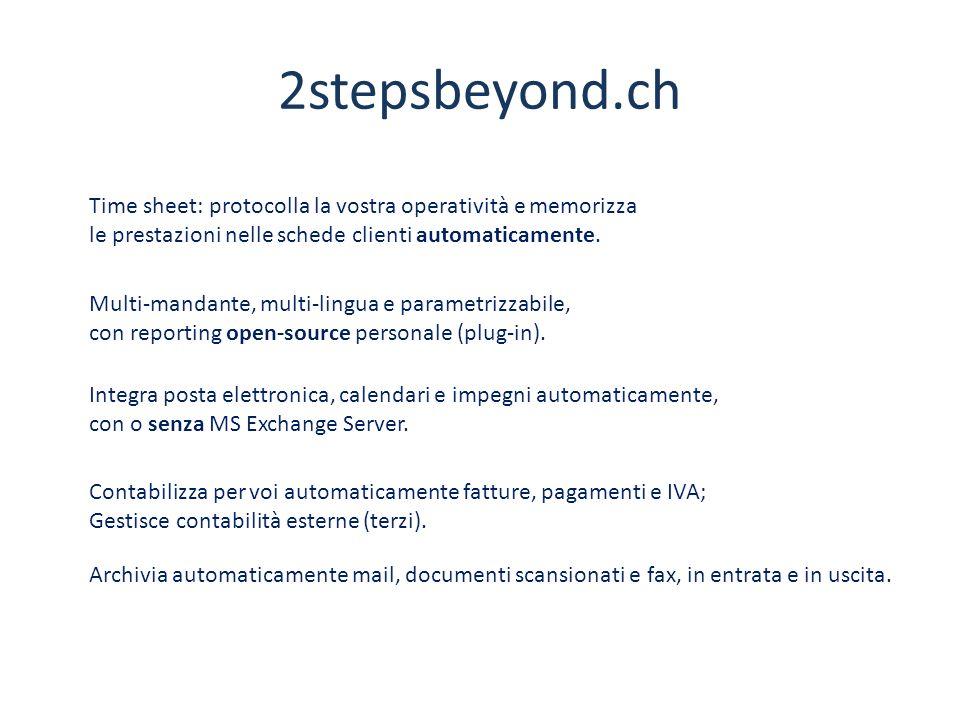 2stepsbeyond.ch Time sheet: protocolla la vostra operatività e memorizza le prestazioni nelle schede clienti automaticamente.