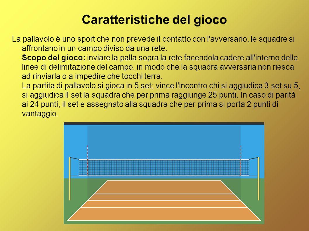 Caratteristiche del gioco La pallavolo è uno sport che non prevede il contatto con l'avversario, le squadre si affrontano in un campo diviso da una re