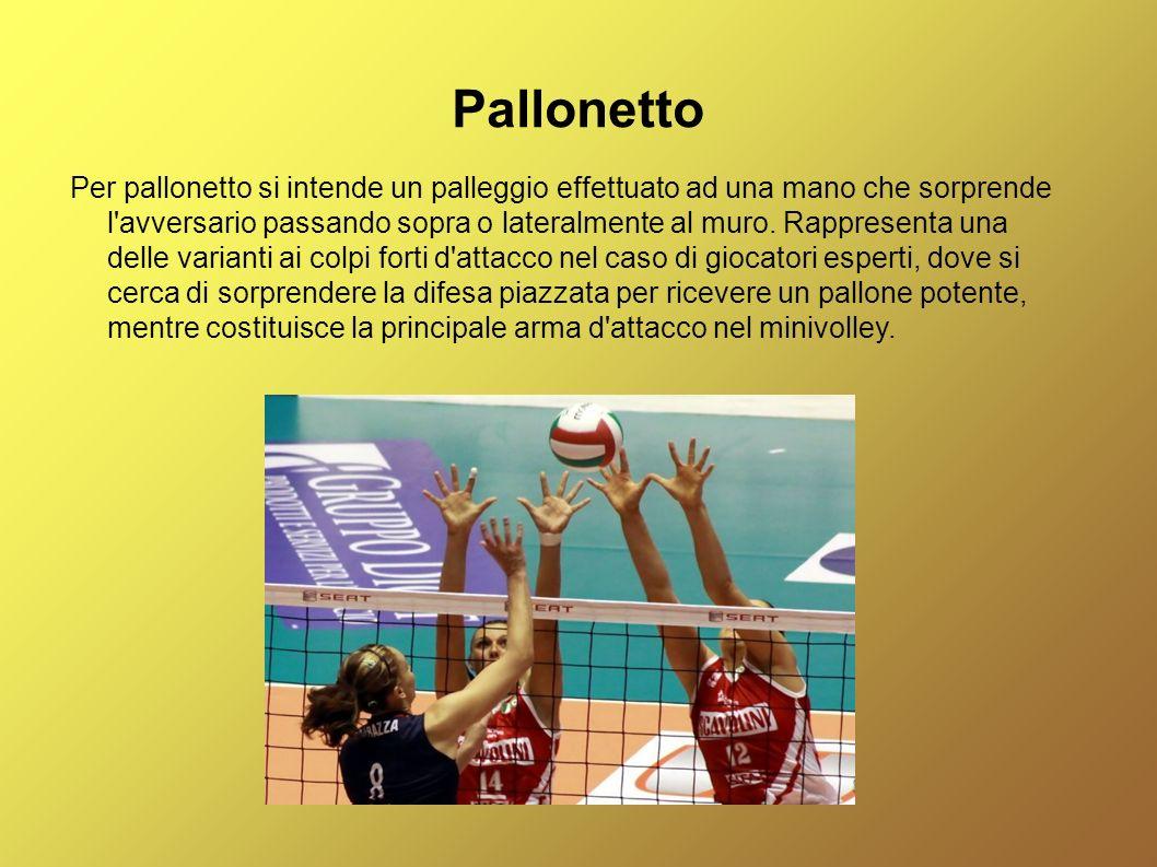Pallonetto Per pallonetto si intende un palleggio effettuato ad una mano che sorprende l'avversario passando sopra o lateralmente al muro. Rappresenta