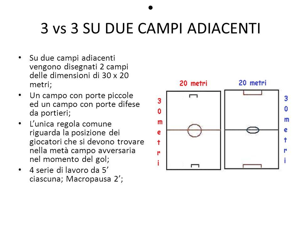 3 vs 3 SU DUE CAMPI ADIACENTI Su due campi adiacenti vengono disegnati 2 campi delle dimensioni di 30 x 20 metri; Un campo con porte piccole ed un cam