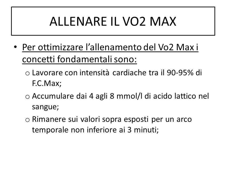 ALLENARE IL VO2 MAX Per ottimizzare lallenamento del Vo2 Max i concetti fondamentali sono: o Lavorare con intensità cardiache tra il 90-95% di F.C.Max