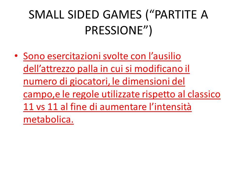 SMALL SIDED GAMES (PARTITE A PRESSIONE) Sono esercitazioni svolte con lausilio dellattrezzo palla in cui si modificano il numero di giocatori, le dime