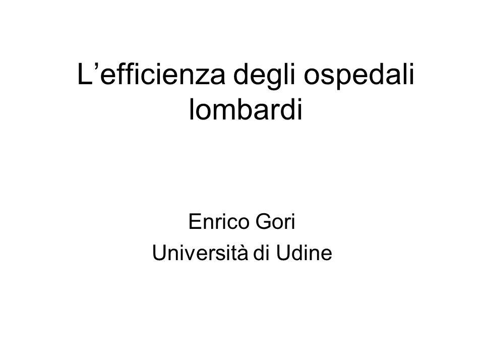 Lefficienza degli ospedali lombardi Enrico Gori Università di Udine