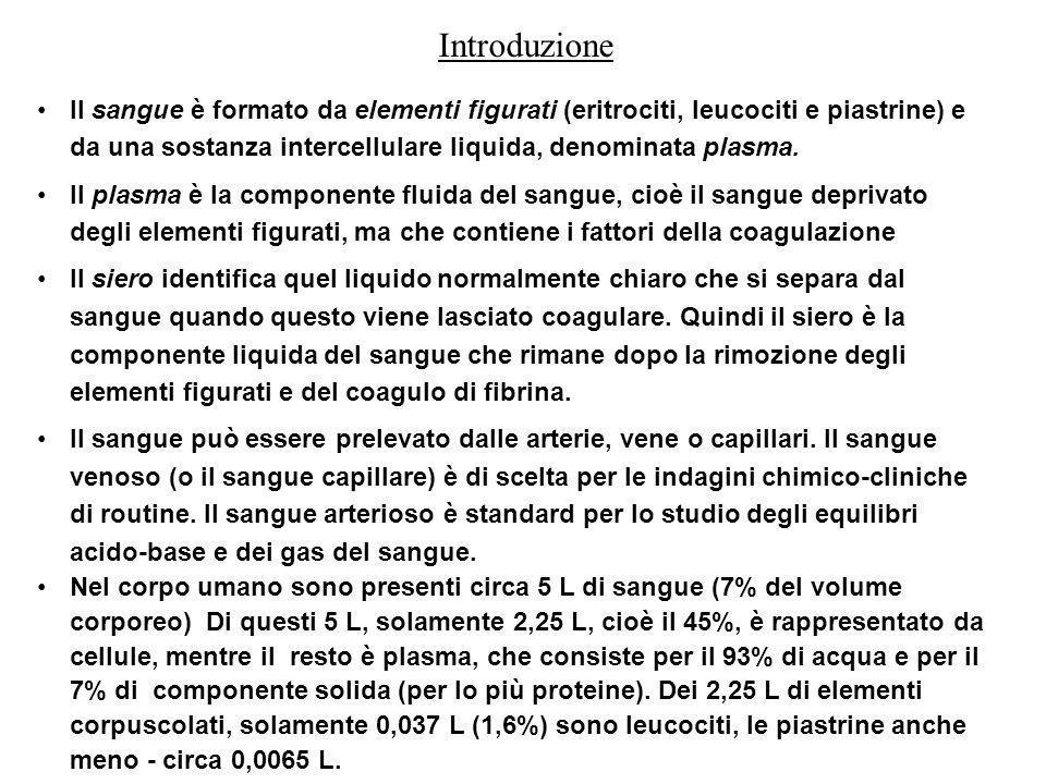 Il sangue è un tessuto formato da una sospensione di cellule ( ~ 45%) in un liquido chiamato plasma (~55%) costituisce circa 1/12 del peso corporeo, circa quindi 5-6 litri Il sangue svolge numerose ed importanti funzioni: ÷Respiratoria: per mezzo dell emoglobina contenuta negli eritrociti, porta l ossigeno ai vari tessuti e ne preleva l anidride carbonica (CO 2 ) ÷Nutritizia ed escretrice: trasporta sostanze nutritive (amminoacidi, zuccheri, sali minerali) e raccoglie quelle escrete dai vari apparati che verranno eliminate attraverso il filtro renale od elaborate dal fegato ÷Regolazione: Il sangue trasporta inoltre ormoni, enzimi e vitamine ÷Difesa: Presiede anche alla difesa dell organismo attraverso l azione svolta dai globuli bianchi ÷Termoregolatrice ÷Mantenimento del tasso idrico ÷Regolazione dellemostasi ÷Mantenimento della pressione osmotica (minerali) e oncotica (proteine) Il sangue