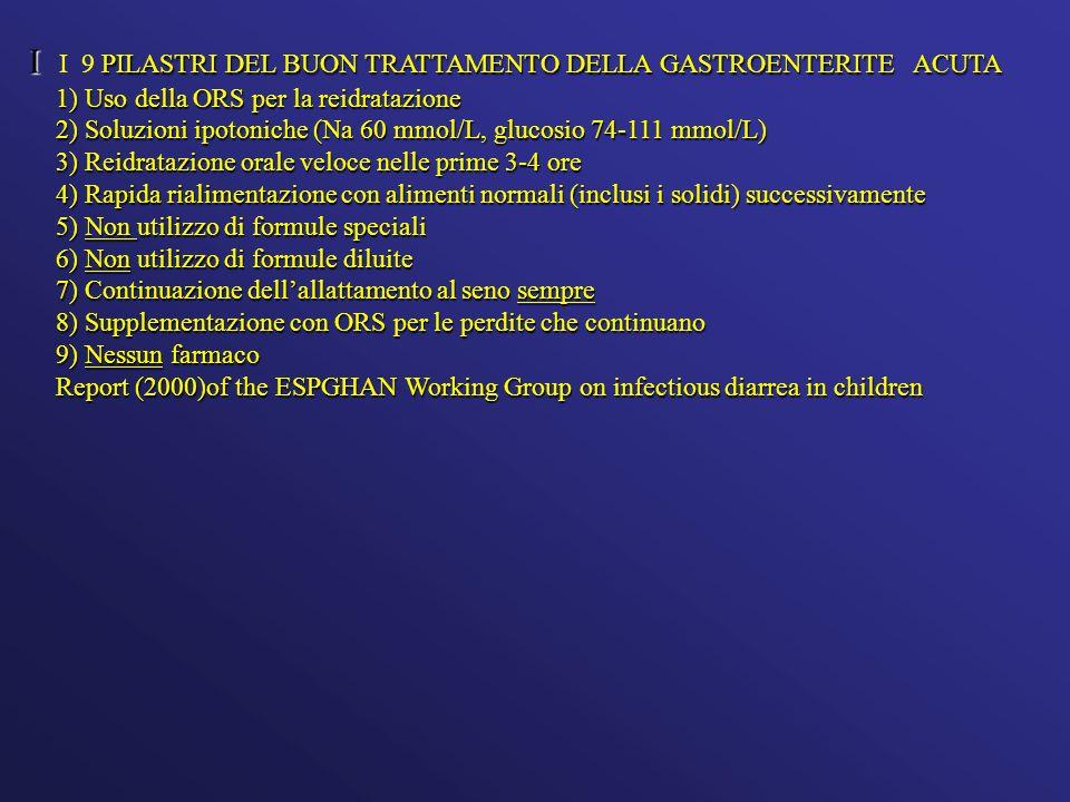 I PILASTRI DEL BUON TRATTAMENTO DELLA GASTROENTERITE ACUTA I I 9 PILASTRI DEL BUON TRATTAMENTO DELLA GASTROENTERITE ACUTA 1) Uso della ORS per la reid