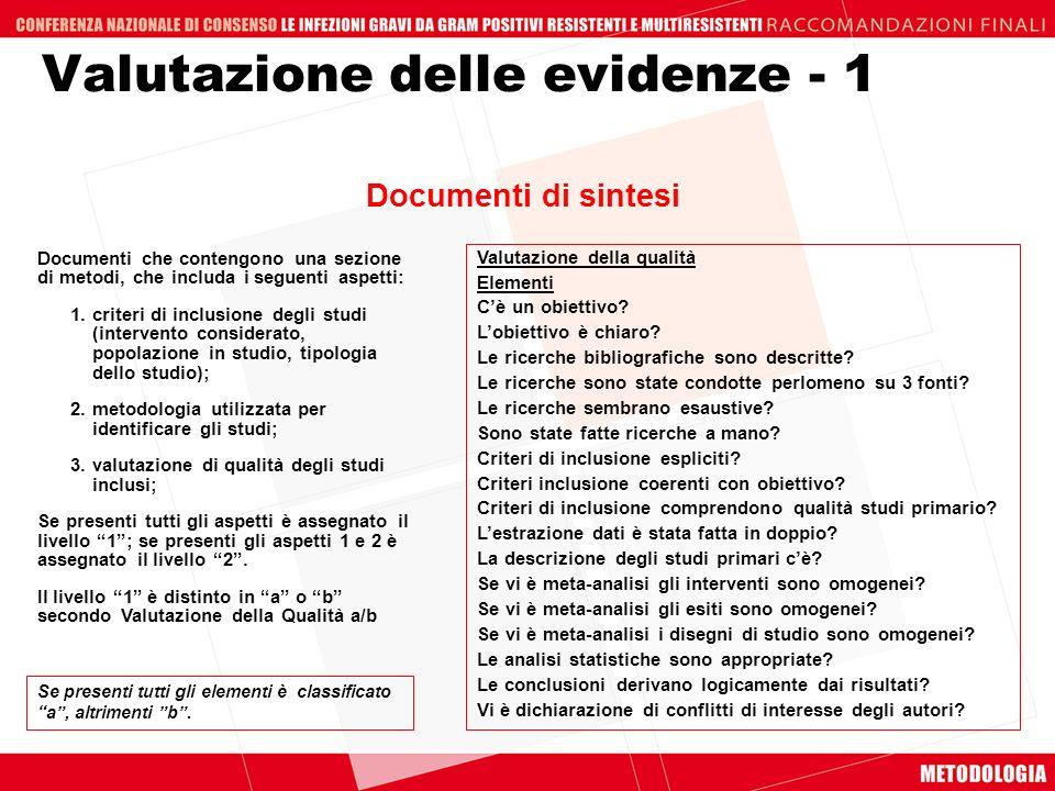 Documenti che contengono una sezione di metodi, che includa i seguenti aspetti: 1.criteri di inclusione degli studi (intervento considerato, popolazio