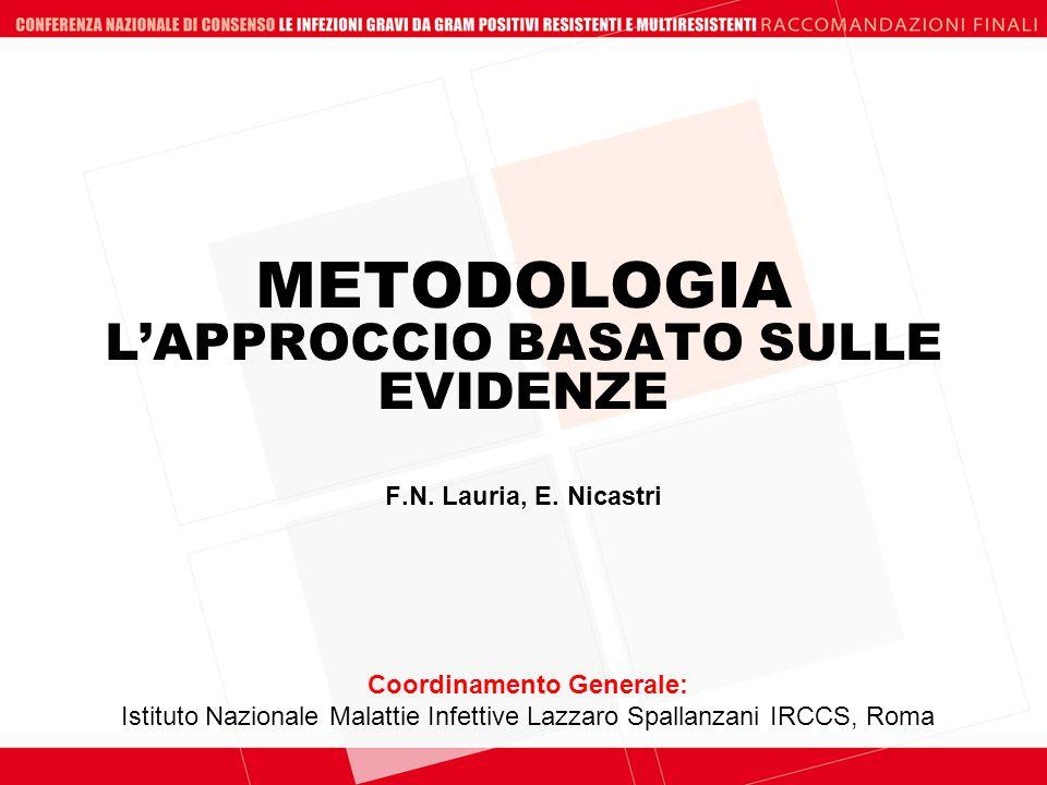 METODOLOGIA LAPPROCCIO BASATO SULLE EVIDENZE Coordinamento Generale: Istituto Nazionale Malattie Infettive Lazzaro Spallanzani IRCCS, Roma F.N. Lauria