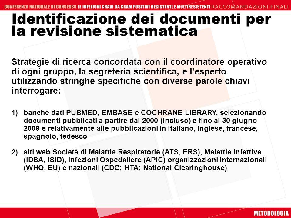 Identificazione dei documenti per la revisione sistematica Strategie di ricerca concordata con il coordinatore operativo di ogni gruppo, la segreteria