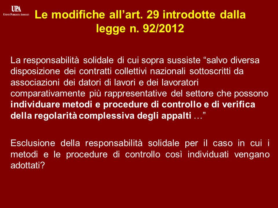 Le modifiche allart. 29 introdotte dalla legge n.