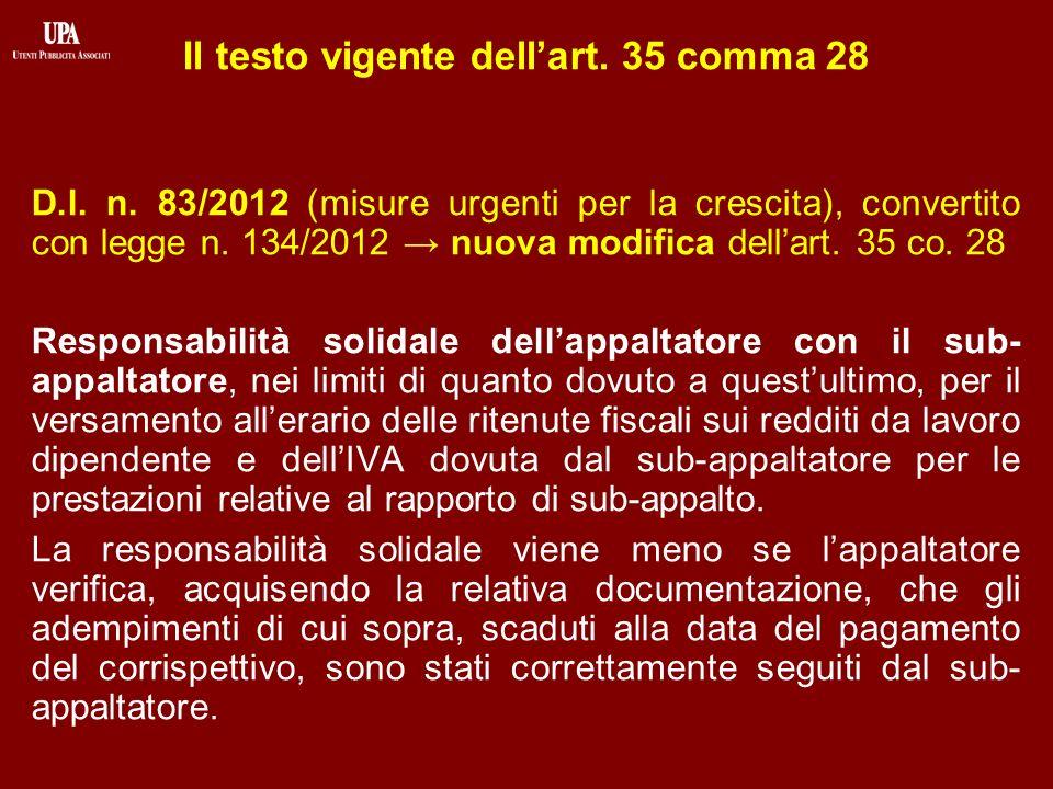 Il testo vigente dellart. 35 comma 28 D.l. n.