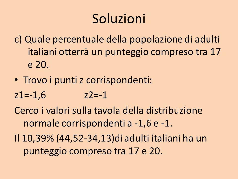 Soluzioni c) Quale percentuale della popolazione di adulti italiani otterrà un punteggio compreso tra 17 e 20. Trovo i punti z corrispondenti: z1=-1,6