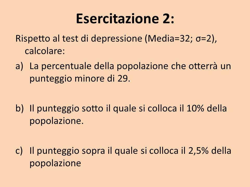 Esercitazione 2: Rispetto al test di depressione (Media=32; σ=2), calcolare: a)La percentuale della popolazione che otterrà un punteggio minore di 29.