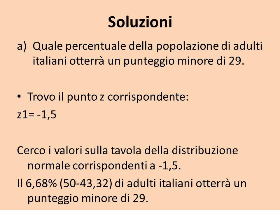 Soluzioni a)Quale percentuale della popolazione di adulti italiani otterrà un punteggio minore di 29. Trovo il punto z corrispondente: z1= -1,5 Cerco