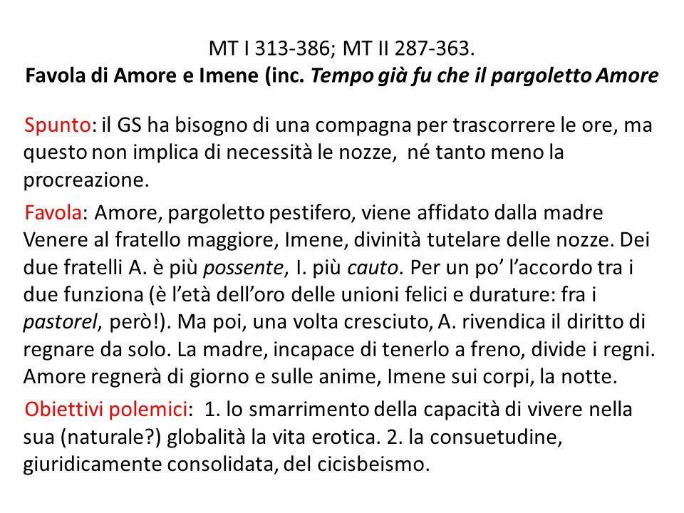 MT I 313-386; MT II 287-363.Favola di Amore e Imene (inc.